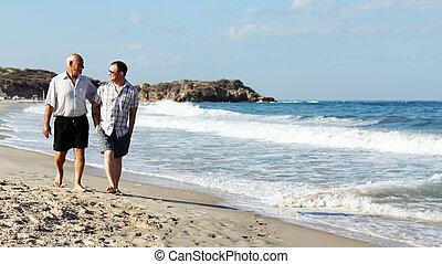 père fils, sur, a, plage