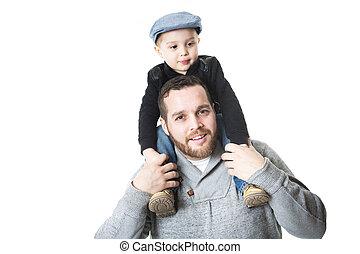 père, -, fils, sur, sien, isolé, fond blanc, épaules, porter