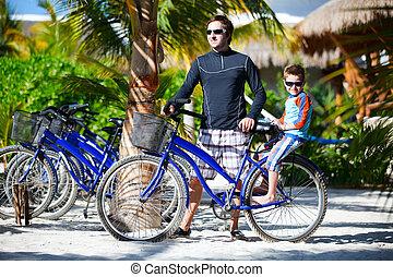 père fils, sur, vélo