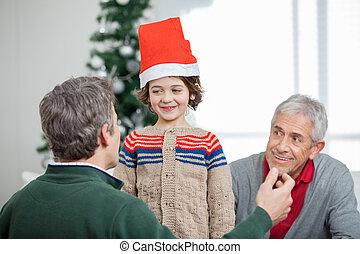 père, grand-père, regarder, pendant, fils, noël
