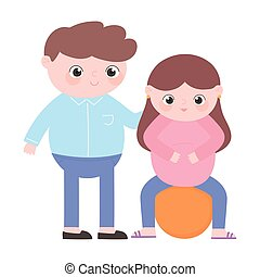 père, grossesse, pregnant, séance, mignon, maternité, dessin...