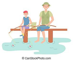 père, heureux, activités, gosse, parent, famille, extérieur, séance, fils, pêche récréationnelle