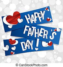 père, heureux, jour, carte, salutation