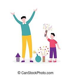 père, heureux, lancement, famille, -, petards, dessin animé, éclairage, fils, feux artifice