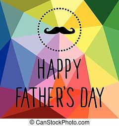 père, heureux, moustache, vecteur, jour, carte