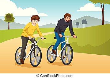 père, illustration, fils, aller, dehors, faire vélo
