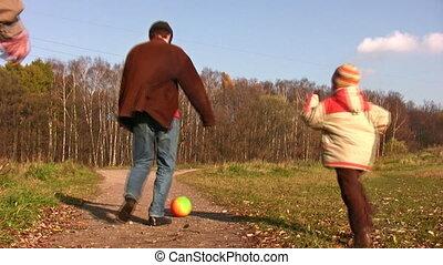 père, jeu, football, fils, grand-père