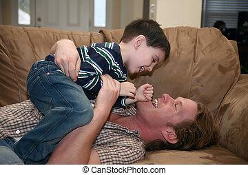 père, jouer, fils