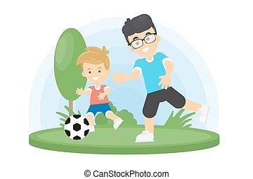 père, jouer, football., fils