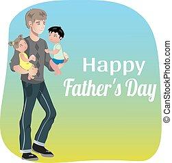 père, jour, carte, heureux