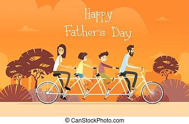 père, jour, vacances, famille, cavalcade, double bicyclette