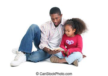père, lecture, fille