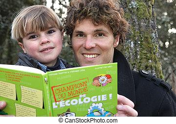 père, livre, parc, lecture, fils