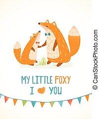 père, mère, renard, illustration, ou, foxy, enfant, dessin animé
