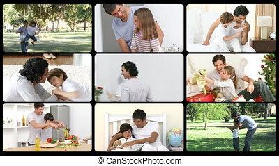 père, moment, animation, apprécier