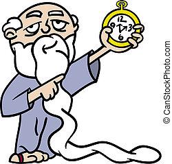 père, montre, pointage, temps