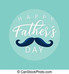 père, moustache, jour, carte, heureux