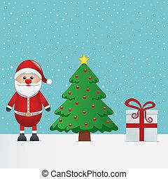 père noël, cadeau, et, arbre noël