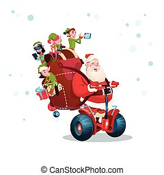 père noël, elfe, cavalcade, scooter électrique, noël, bonne...