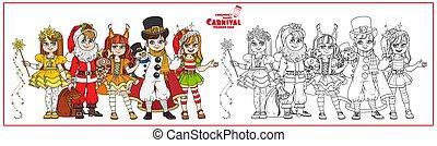père noël, enfants, costumes, coloration, noël, nuit, carnaval, couleur, page, esquissé, elfe, caractères, bonhomme de neige
