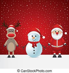 père noël, renne, et, bonhomme de neige