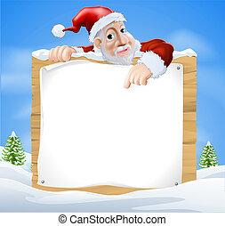 père noël, signe, scène hiver