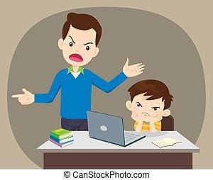 père, ordinateur portable, fâché, fils, maison, utilisation