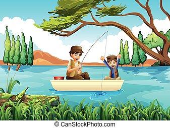 père, pêche lac, fils