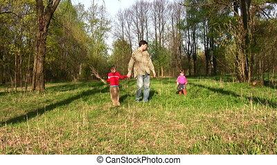 père, parc, enfants