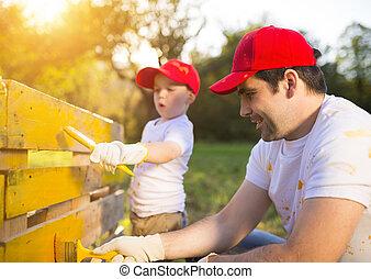 père, peinture, barrière, fils