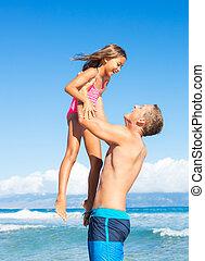père, plage, fille