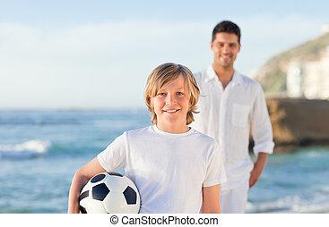 père, plage, fils, sien