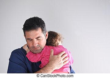 père, sien, fille, étreint