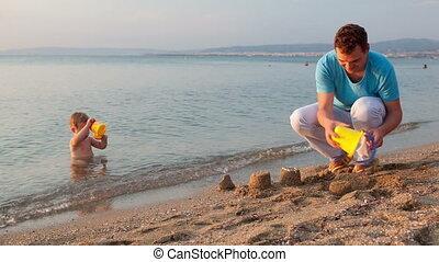 père, sien, plage, jouer, fils
