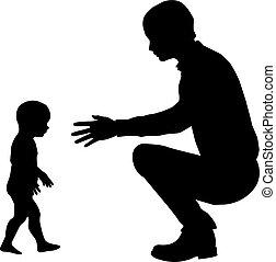 père, silhouette, child.