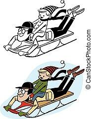 père, sledding, fils