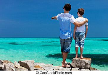 père, vacances, fils