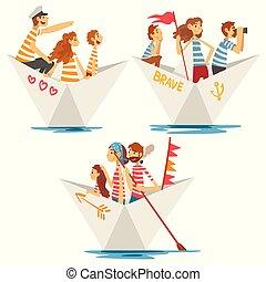 pères, gosses, famille, mères, ensemble, illustration, papier, canotage, vecteur, bateaux, rayé, rivière, t-shirts