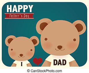 pères, heureux, jour, carte