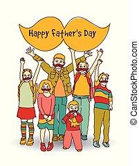 pères, isoler, salutation, enfants, moustache, jour, carte