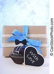 pères, petit gâteau, gift., jour