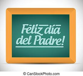 pères, signe, espagnol, message, jour, heureux