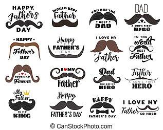 pères, vacances, icônes, jour, célébration
