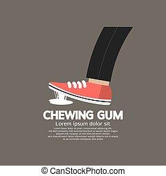 pé, aderido, em, chewing, gum.