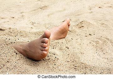 pé, areia, nu