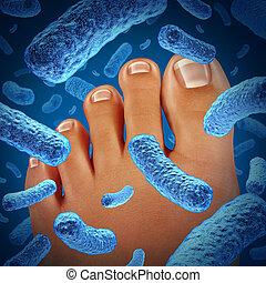 pé, bactérias