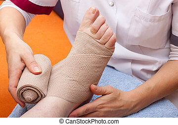pé, bandaged, paciente, doutor