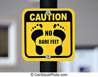 pé, cautela, nu, sinal