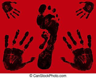 pé, e, mão imprime
