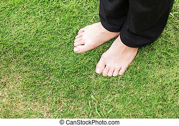 pé, gramado, mulher, nu